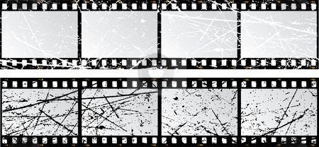 Grunge film strips stock vector clipart, Film strips with a grunge texture by Kirsty Pargeter