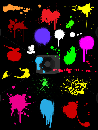 Ink splats stock vector clipart, Colourful ink splats on black background by Kirsty Pargeter