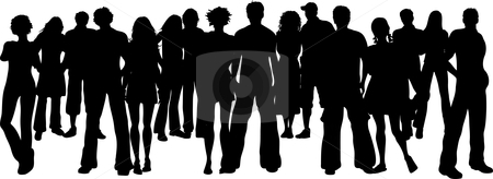 Huge crowd stock vector clipart, Silhouette of a huge crowd of people by Kirsty Pargeter