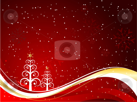 Decorative Christmas tree background stock vector clipart, Christmas tree background by Kirsty Pargeter