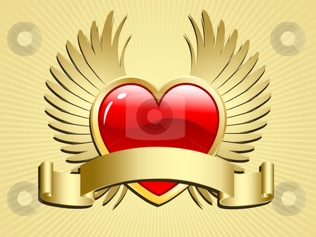 Winged heart with scroll stock vector clipart, Valentines day heart with wings and scroll by Kirsty Pargeter