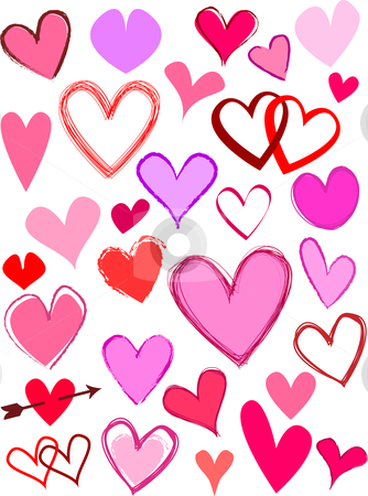 Hearts stock vector clipart, Lots of different styles of hearts by Kirsty Pargeter