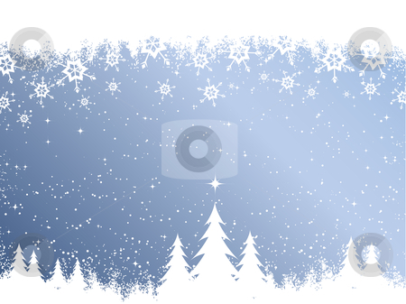 Christmas background  stock vector clipart, Christmas trees on snowy background by Kirsty Pargeter