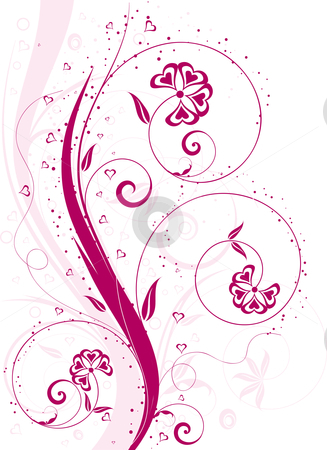 Valentines floral background stock vector clipart, Valentines background with heart shaped flowers by Kirsty Pargeter