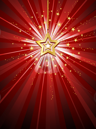 Golden star stock vector clipart, Golden star on starburst background by Kirsty Pargeter
