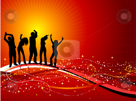 Party time  stock vector clipart, Silhouettes of people dancing on decorative background by Kirsty Pargeter