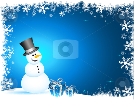 Happy snowman stock vector clipart, Happy snowman with gifts on snowflake background by Kirsty Pargeter