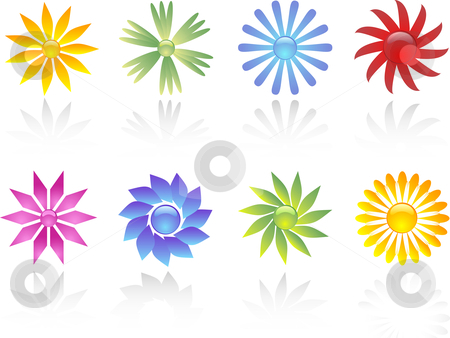 Flower icons stock vector clipart, Various different coloured flower icons by Kirsty Pargeter