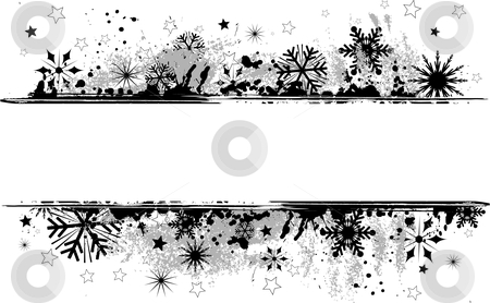 Grunge snowflake background stock vector clipart, Grunge background of snowflakes and stars by Kirsty Pargeter