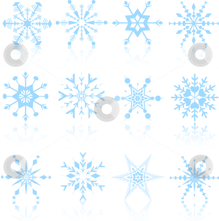 Snowflake designs stock vector clipart, Detailed snowflake designs by Kirsty Pargeter