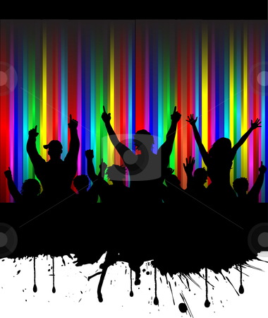 Grunge audience stock vector clipart, Silhouette of an excited audience on rainbow grunge background by Kirsty Pargeter