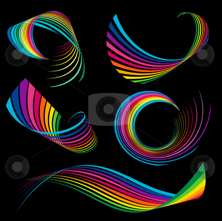 Rainbow ribbons stock vector clipart, Abstract rainbow ribbon logos by Kirsty Pargeter