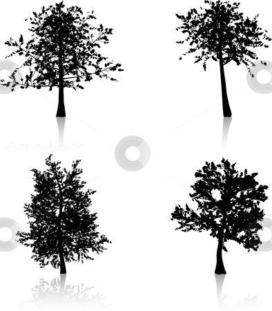 Autumn trees stock vector clipart, Silhouettes of autumn trees by Kirsty Pargeter