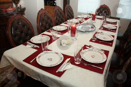Holiday setting stock photo, Beautiful table set for a wonderful Christmas meal by Stacy Barnett