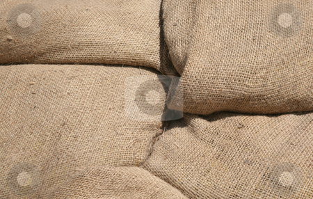 Burlap bag background stock photo, Four burlap bags make a natural texture background by Stacy Barnett