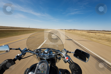Highway tour stock photo, Biker enjoying a ride on the trans canada highway on a sunny day by Steve Mcsweeny