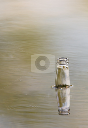 Environment pollution stock photo, Discarded beer bottle floating in a lake by Steve Mcsweeny