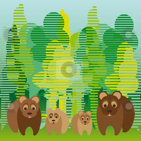 Cute bear family stock vector clipart, Cute bear family walking in the forest by Karin Claus
