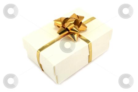 Cream Gift Box with Gold Ribbon stock photo, Textured cream giftbox with gold ribbon and bow by Helen Shorey