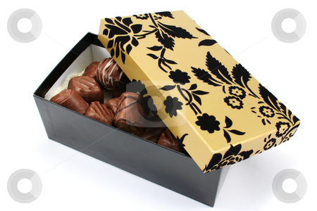 Fancy Gift Box and Chocolates stock photo, Fancy black and gold gift box with handmade chocolates by Helen Shorey