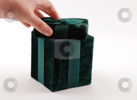 Giftbox stock photo, Green gift box with a laced up bow by Albert Lozano