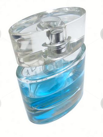 Blue eau de toilette stock photo, Woman blue parfume against the white background by Sergej Razvodovskij