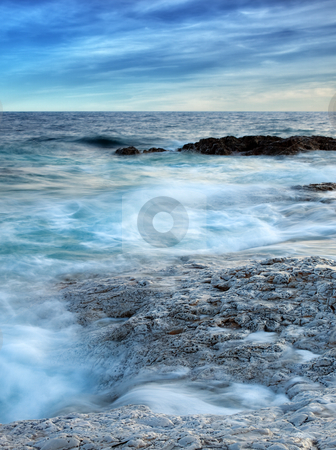 Adriatic Waves stock photo, Collision of waves and rocky Adriatic coast. Long exposure and motion blur. by Sinisa Botas