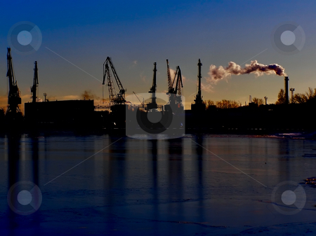 Night port stock photo, Night cargo side port with big ships and cranes by Sergej Razvodovskij