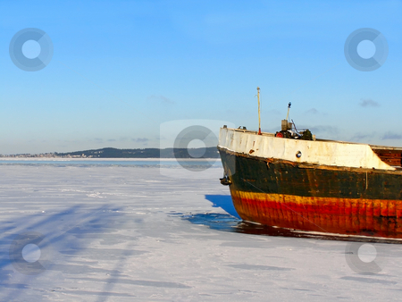 Ship in ice stock photo, Nose of a ship in the ice by Sergej Razvodovskij