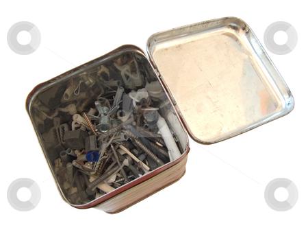 Metalware stock photo, Different hardware in the old metalic box by Sergej Razvodovskij