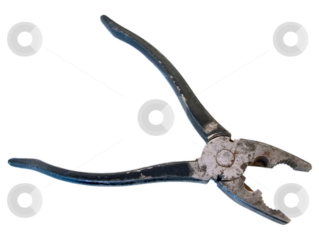 Pliers stock photo, Old rusty pliers over the white background by Sergej Razvodovskij
