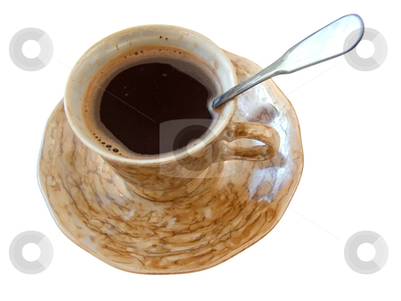 Cup of coffee stock photo, Single cup of black coffee at the white table by Sergej Razvodovskij