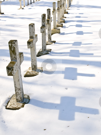 Cemetery stock photo, Row of the winter cemetery crosses in sunny day by Sergej Razvodovskij