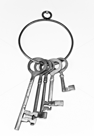 Keys stock photo, A bunch of very old keys on a big ring by Norma Cornes
