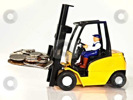 Fork lift and money stock photo, A toy fork lift truck lifting a pallet full of money by Norma Cornes