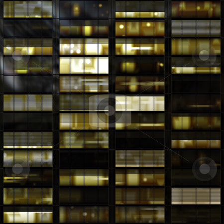 Windows stock photo, Windows in a high rise towerblock or skyscraper at night by Norma Cornes