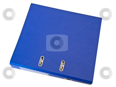 Folder stock photo, Single isolated blue folder against the white background by Sergej Razvodovskij