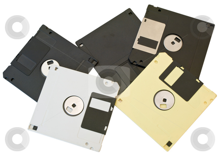 Floppies discs stock photo, Some isolated multicolored floppies discs at the white table by Sergej Razvodovskij