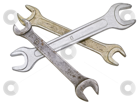 Spanners stock photo, Three isolated metal spanners against white background by Sergej Razvodovskij
