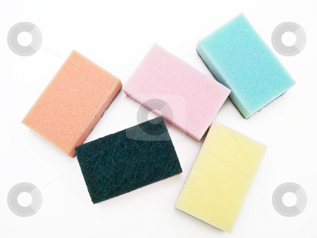 Sponges stock photo, Five multicolored sponges against the white background by Sergej Razvodovskij