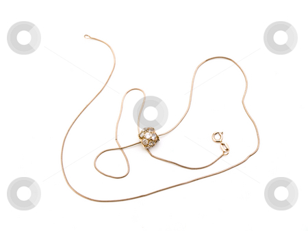 Golden necklace stock photo, Golden necklace with pendant against the white background by Sergej Razvodovskij