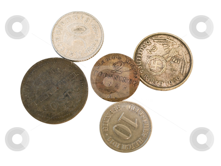 German coins stock photo, Some isolated old german coins against the white background by Sergej Razvodovskij