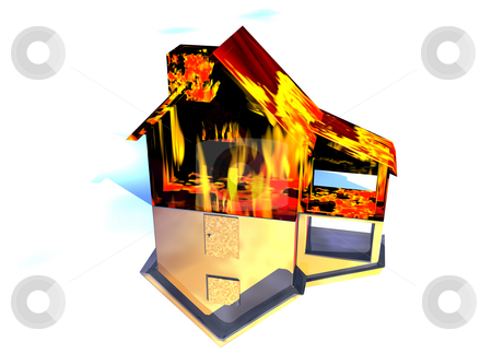 Red Home on Fire House on White stock photo, Red Home on Fire House Model with Reflection Concept For Risk or Property Insurance Protection on White Background by Robert Davies