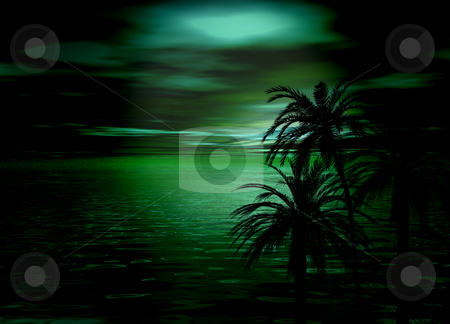 Beautiful Green Horizon Sea and Sky after sunset with tree silho stock photo, Beautiful Green Horizon Sea and Sky after sunset with tree silhouettes by Robert Davies