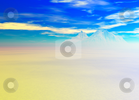 Snowy Landscape with Mountain in Far Distance stock photo, Snowy Landscape with Mountain in Far Distance on Horizon by Robert Davies