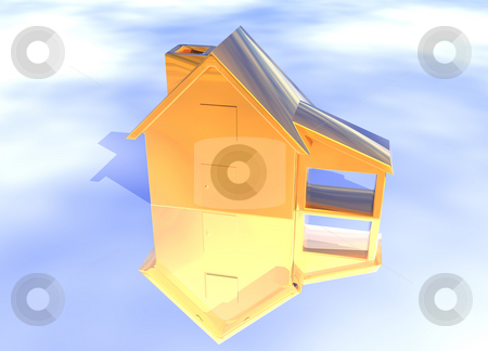 Bronze House Model  stock photo, Bronze House Model on Blue-Sky Background with Reflection Concept Ambition or Progress by Robert Davies
