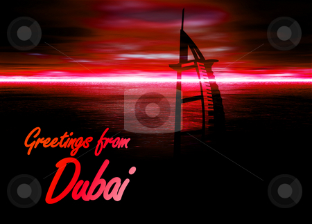 Dubai Poster Horizon Red with Burj Al Arab Hotel Illustration stock photo, Dubai Poster Horizon Red with Burj Al Arab Hotel Illustration by Robert Davies