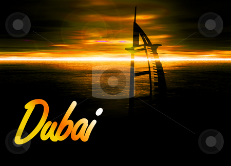 Romantic Yellow Sunset in Dubai With Burj Al Arab Silhouette Hot stock photo, Romantic Yellow Sunset in Dubai With Burj Al Arab Silhouette Hotel Illustration by Robert Davies
