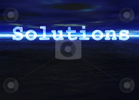 Solutions Text on Stunning Blue Bright Ocean Sea Horizon at Nigh stock photo, Solutions Text on Stunning Blue Bright Ocean Sea Horizon at Night by Robert Davies