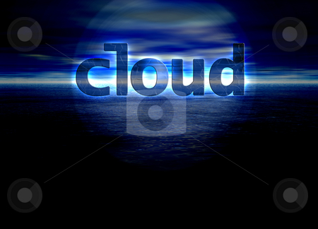 Cloud Text Internet Concept on Blue Skyscape Horizon stock photo, Cloud Text Internet Concept on Blue Skyscape Horizon by Robert Davies